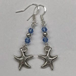 Jewelry - Seashell Charm Dangle Earrings Blue Bead Accents